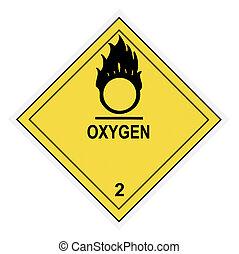 warnung, sauerstoff, etikett