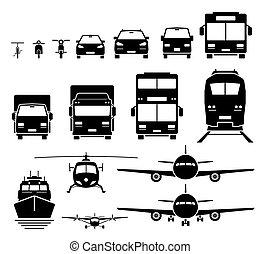 wasser, heiligenbilder, transport, set., fahrzeuge, ansicht, luft, boden, front