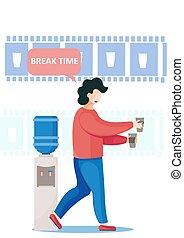 wasser, kühlcontainer, brechen, stehende , heiß, nehmen, arbeiter, buero, kalte , tassen, bohnenkaffee, papier