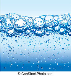 Wasser mit glitzernden Blasen und gerüttelt
