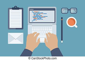 Web- und HTML-Programmierung flache Illustration