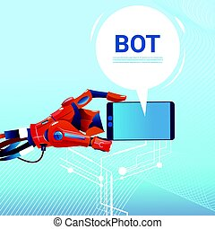 website, begriff, anwendungen, beweglich, intelligenz, unterstützung, bot, roboter, virtuell, zelle, unterhaltung, künstlich, telefon, hände, gebrauchend, oder, klug