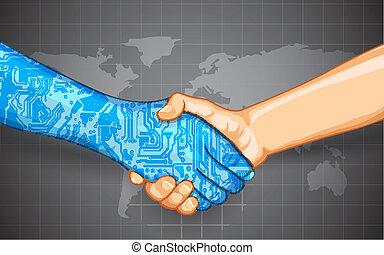 wechselwirkung, technologie, menschliche