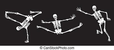 Weiße, aktive Skelette auf Schwarz. Se