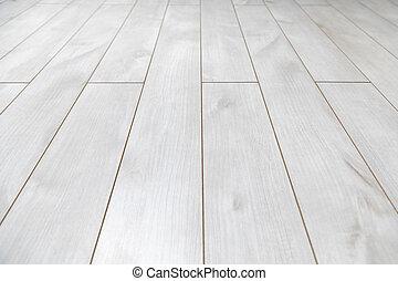 Weißer Holzfußboden als Hintergrundtextur.