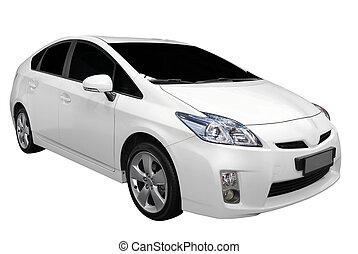 Weißer Hybridwagen.