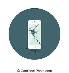 Weißer kaputter Iphone-Flachkreis Icon.
