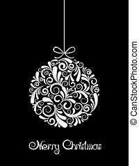 Weißer Weihnachtsball auf schwarzem Hintergrund.