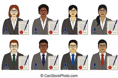 weißes, andersartigkeit, ethnicity, stift, dokumente, rennen, weibliche , genehmigt, freigestellt, hintergrund, vektor, briefmarke, mann, heiligenbilder, notary
