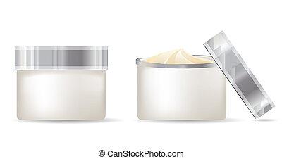 weißes, behälter, freigestellt, hintergrund, creme