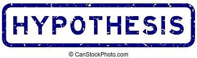 weißes, blaues quadrat, siegel, grunge, briefmarke, hypothesis, hintergrund, gummi, wort