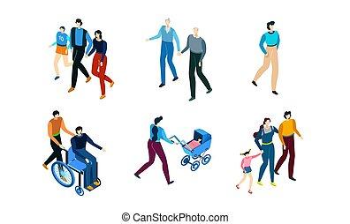 weißes, charaktere, leute, vektor, satz, abbildung, karikatur, isometrisch, freigestellt, gehen