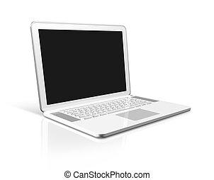 weißes, edv, laptop, freigestellt