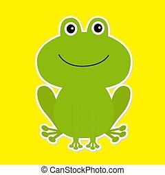 weißes, frog., grün, karikatur, hintergrund., reizend