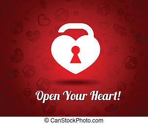 Weißes Herz mit einem Schlüsselloch.