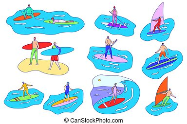 weißes, leute, vektor, abbildung, satz, windsurfing, karikatur, freigestellt, surfen, charaktere