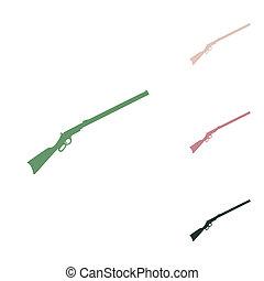weißes, wüste, derjenig, dschungel, gun., klein, hintergrund., puce, jagen, grün, sand, grün, gewehr, illustration., silhouette, ikone, russische