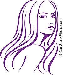 Weibliche Frau mit langen Haaren