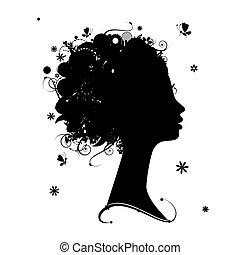 Weibliche Profil-Silhouette, Blumenfrisur für dein Design