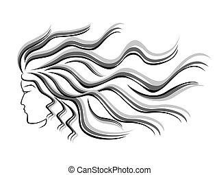 Weibliche Silhouette mit fließenden Haaren.