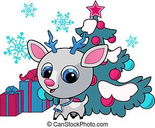 weihnachten, abbildung, vektor, hirsch