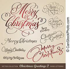 weihnachten, hand, grüße, beschriftung