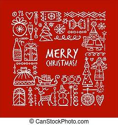 weihnachten, rahmen, dein, design, skizze