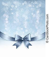 Weihnachts-Hintergrund mit Geschenk-Glombo-Bug und Band. Vector