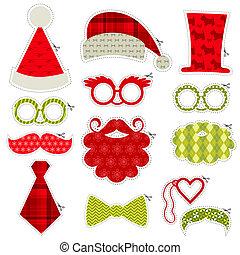 Weihnachts-Photobooth Party Set - Brillen, Hüte, Lippen, Schnurrbart, Masken - in Vektor.