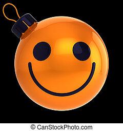 Weihnachtsball lustiges oranges Gesicht glückliches neues Jahr