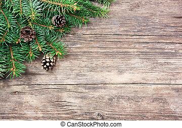 Weihnachtsbaum auf Holz.