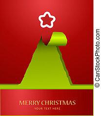 Weihnachtsbaum aus zerrissenem Papier mit Stern auf der Spitze