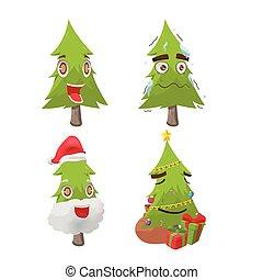 Weihnachtsbaum Cartoon Fun Charakter Vektor.
