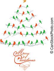Weihnachtsbaum mit Vögeln, Vektor