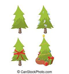 Weihnachtsbaum-Sammlung setzt Vektor.