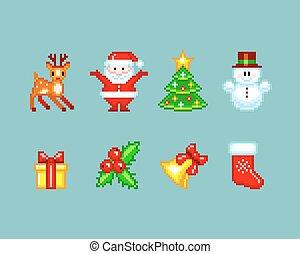 Weihnachtselemente im Pixel-Art Stil.
