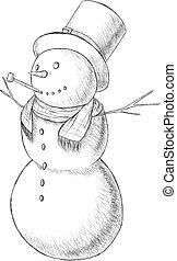 Weihnachtshand gezeichnete Penvektorgrafik - Schneemann in hohem Hut mit Rohr, Vintage-Stil.