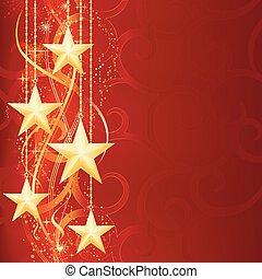 Weihnachtshintergrund mit glänzenden goldenen Sternen, Schneeflocken und Grungeelementen für deine Feierlichkeiten.