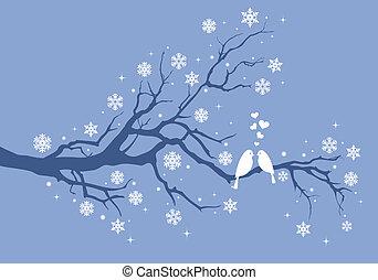Weihnachtsvögel auf dem Winterbaum.