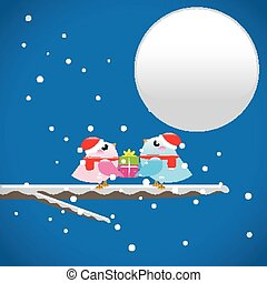 Weihnachtsvögel mit Geschenk