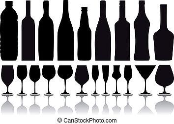 Weinflaschen und Gläser, Vektor
