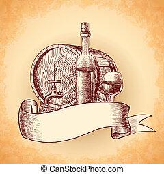 Weinhand gezeichneter Hintergrund.