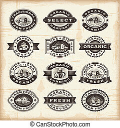 weinlese, briefmarken, landwirtschaft, organische , satz