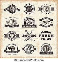 weinlese, briefmarken, satz, ernte, organische
