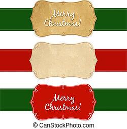 weinlese, etiketten, satz, weihnachten
