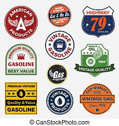 weinlese, gas, retro, zeichen & schilder