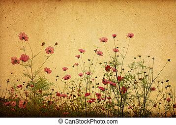 weinlese, papierblume, hintergrund