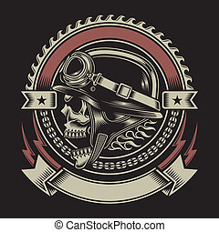 weinlese, radfahrer, emblem, totenschädel