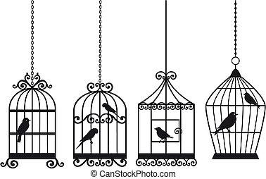 weinlese, vögel, vogelkäfige