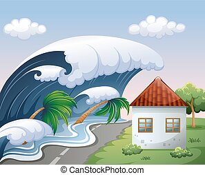 wellen, aus, groß, tsunami, haus
